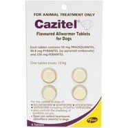 Cazitel wormer for dogs 10kg tablets pack of 4