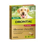 Drontal Allwormer Chewables for Dogs 35kg x 20 pack