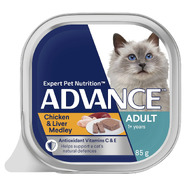 Advance Adult Chicken and Liver Medley wet cat food 7 x 85g Pouches