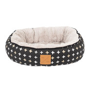 Mog & Bone 4 Seasons Black Cross Circular Cat Bed