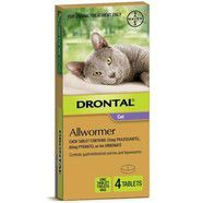 Drontal Cat 4kg Ellipsoid Worming Tablets x 4