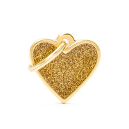 Pet ID Tag Shine Small Gold Heart 2cm x 2.8cm