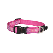 Rogz Large Dog Collar 34-56cm Pink Paws