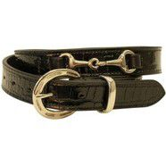 Jeremy and Lord Patent Croc Equestrian Belt Black