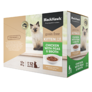 Black Hawk Grain Free Kitten Wet Cat Chicken with Peas and Broth 85g