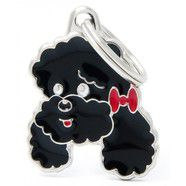Pet ID Tag Black Friends Poodle 2.7cm x 2.5cm