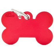 Pet ID Tag Aluminium Small Red  Bone 3cm x 1.8cm
