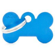 Pet ID Tag Aluminium Large Blue Bone 3.8cm x 2.5cm
