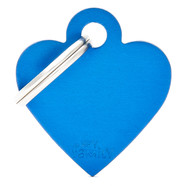 Pet ID Tag Aluminium Small BLUE Heart 2.5cm X 2.7cm