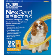 Nexgard Spectra for dogs 3.6- 7.5 kg Yellow pack of 3 Small dogs