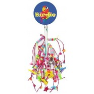 Birdie Medium Multi Bead Leather Bird Toy