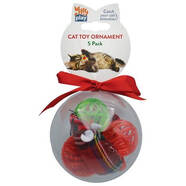 Kitty Play Christmas Cat Ornament 5 pack