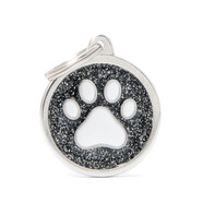 Pet ID Tag Shine Big Circle Black Paw 3.9cm x 3.1cm