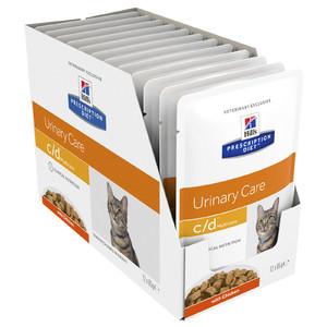 Hills Prescription Feline C/D Chicken 12 x 85gm Multicare pouches Urinary diet for cats